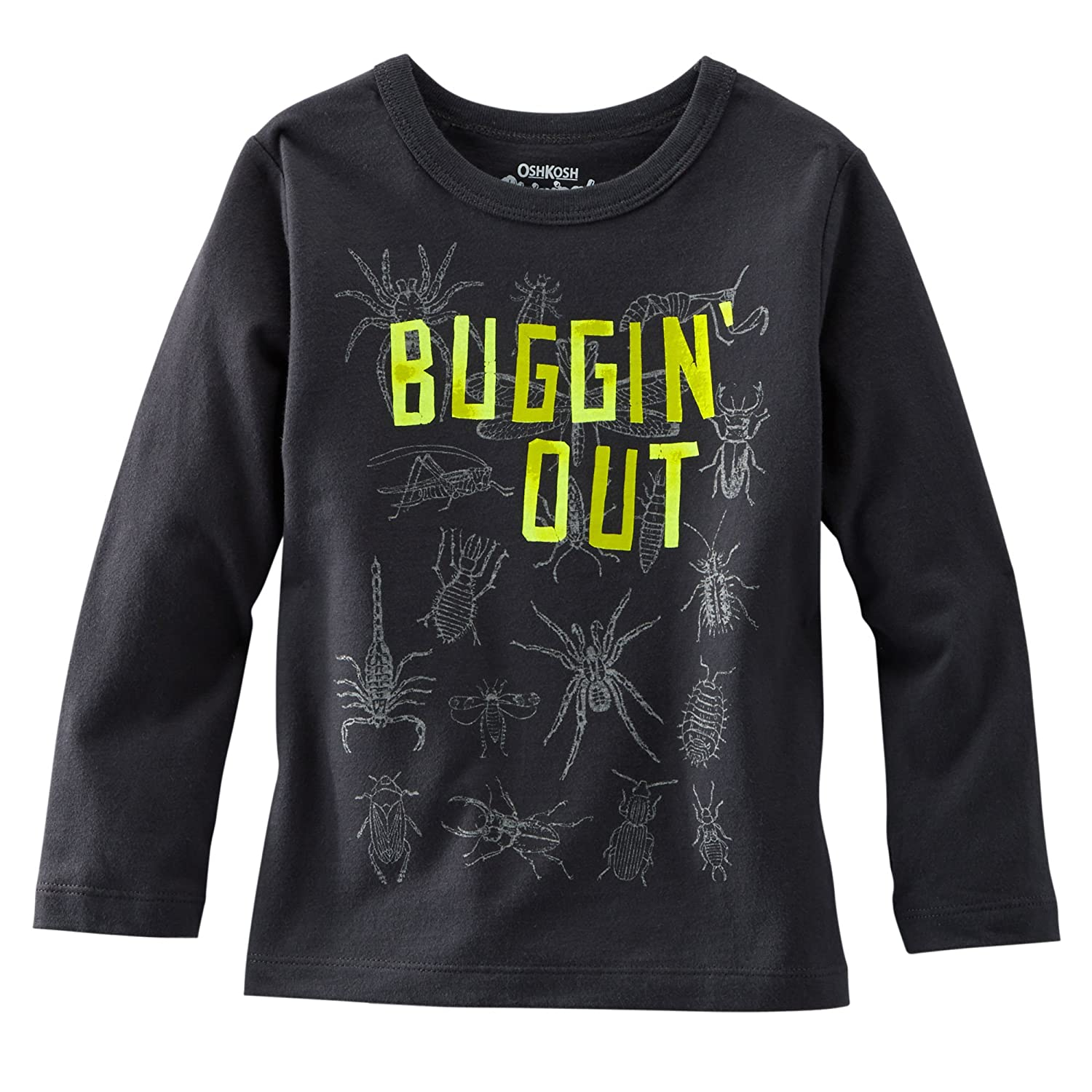 OshKosh Bgosh Little Boys L//S Charcoal BUGGIN OUT Tee