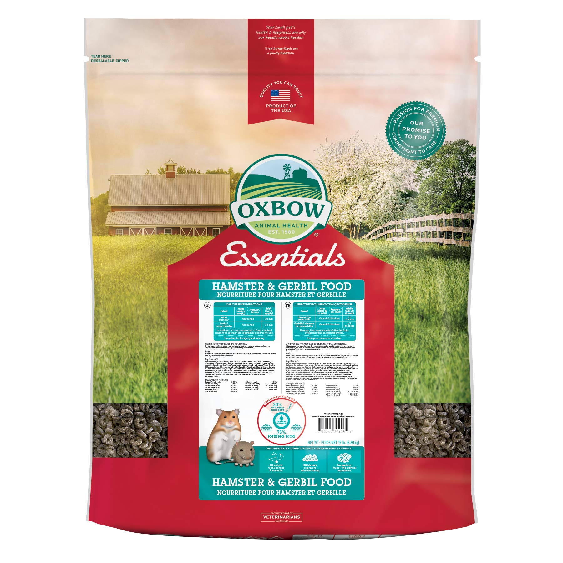Oxbow Animal Health Healthy Handfuls Essentials Hamster/Gerbil Food, 15-Pound by Oxbow