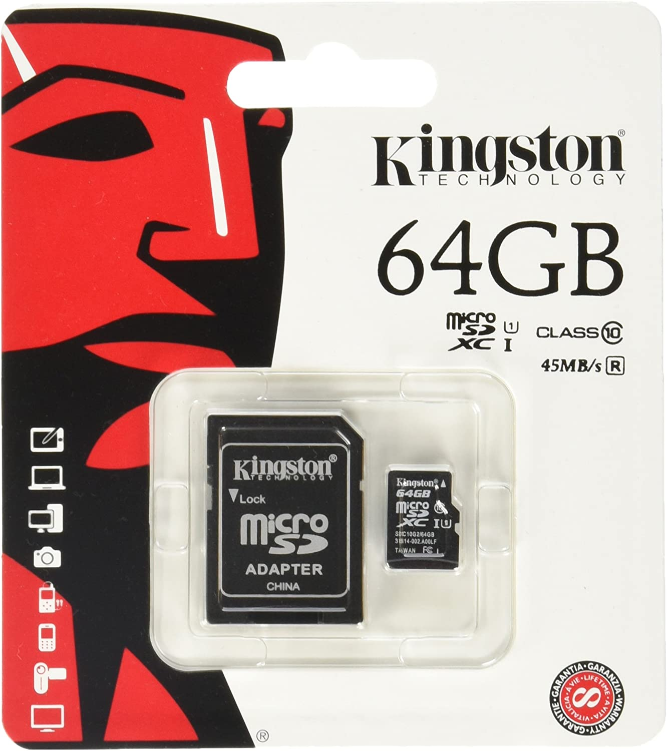 Kingston Digital 8 GB microSDHC Class 10 UHS-1 Memory Card 30MB/s with Adapter (SDC10/8GB)