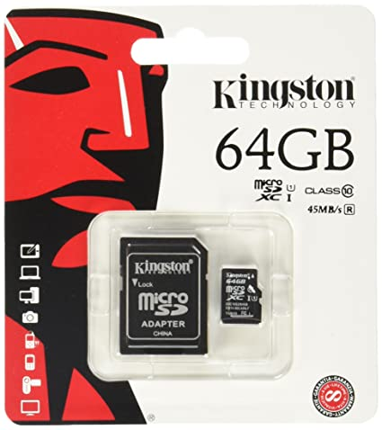 Kingston SDCX10/64GB - Tarjeta Micro SDXC de 64 GB, Clase 10 UHS-I, con Adaptador