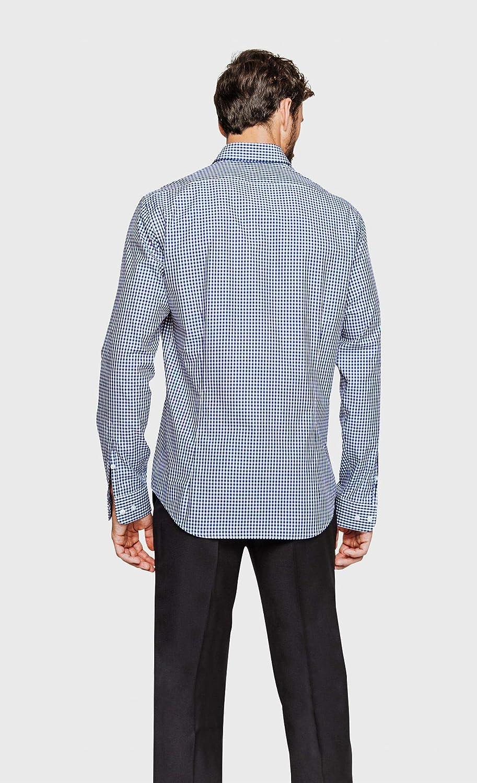 Arrow - Camisa regular fit Vichy cuello con botones azul ...