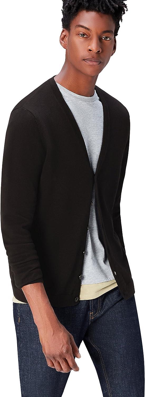 find. Men's Cotton Button Down Cardigan Sweater, Black, EU XXL (US XL)