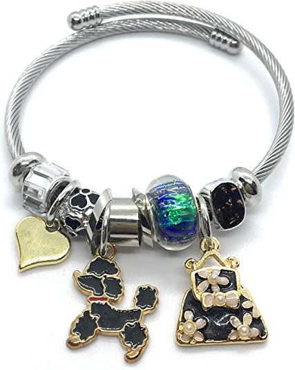 I love my POODLE Dog Person expandable bangle charm bracelet