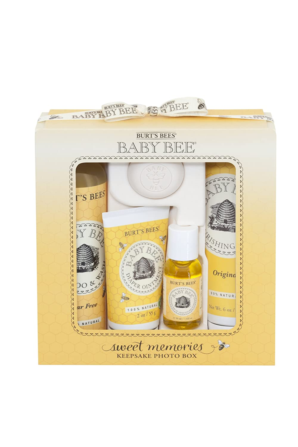 Burt's Bees Baby Sweet Memories Gift Set with Keepsake Photo Box, 4 Baby Products – Shampoo & Wash, Lotion, Diaper Rash Ointment and Soap Burt's Bees 01768-24