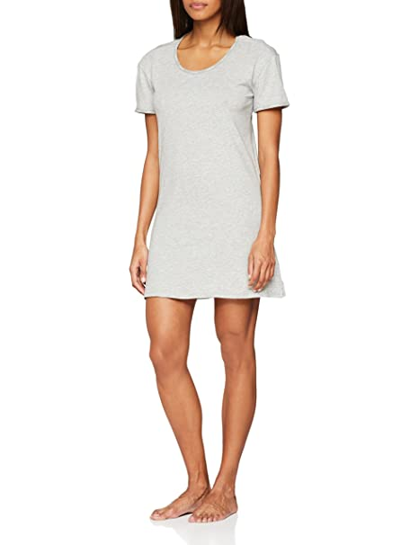 Calvin Klein S/s Nightshirt, Top de Pijama para Mujer, Gris (Grey