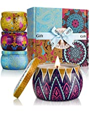 YMing Scented Candles Lavender, Lemon, Mediterranean Fig, Fresh Spring,Natural Soy Wax Portable Travel Tin Candle,Set Gift of 4