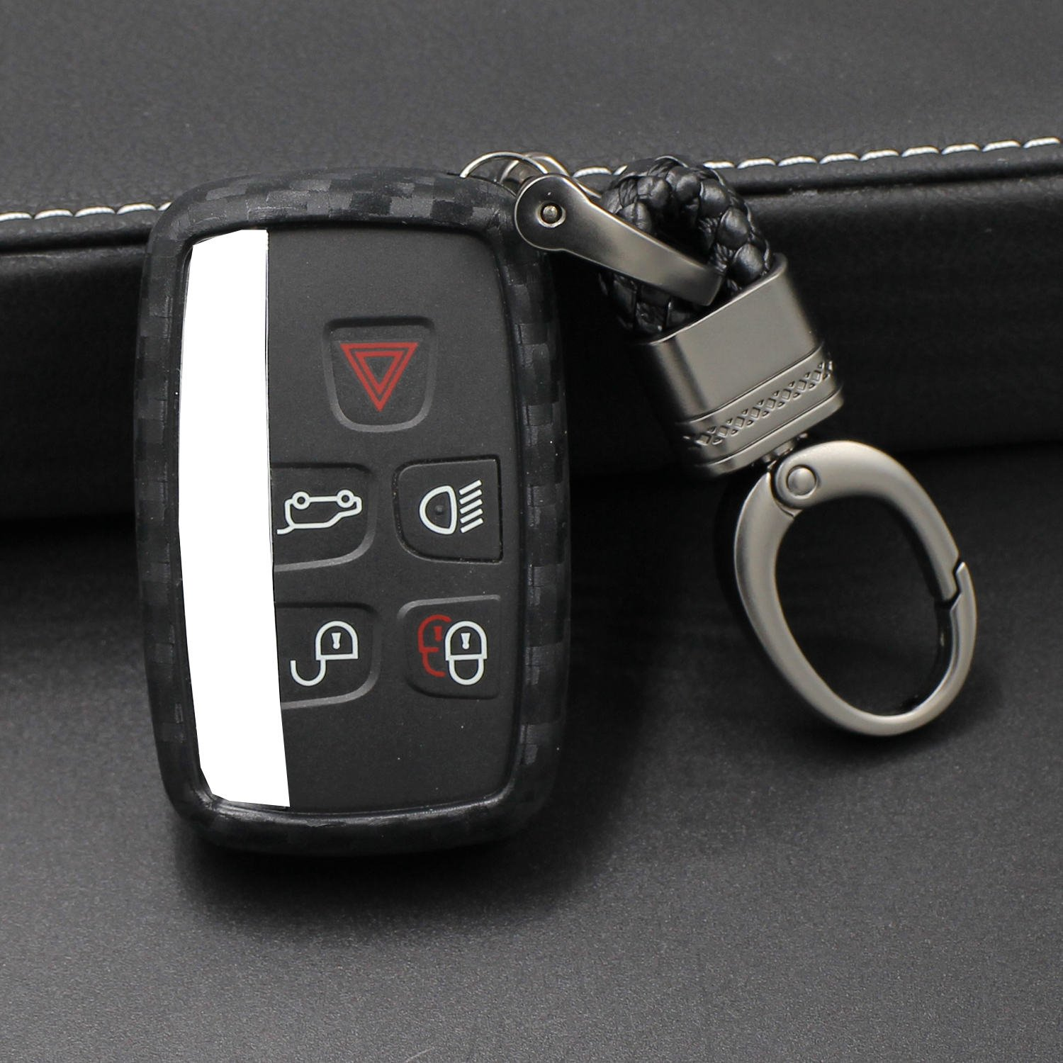 Round Keychain Car Keyless Entry Fob Case For Land Rover Discovery Sport Discovery 4 Freelander 2 Range Rover Evoque M.JVisun Soft Silicone Rubber Carbon Fiber Texture Cover Protector For Land Rover
