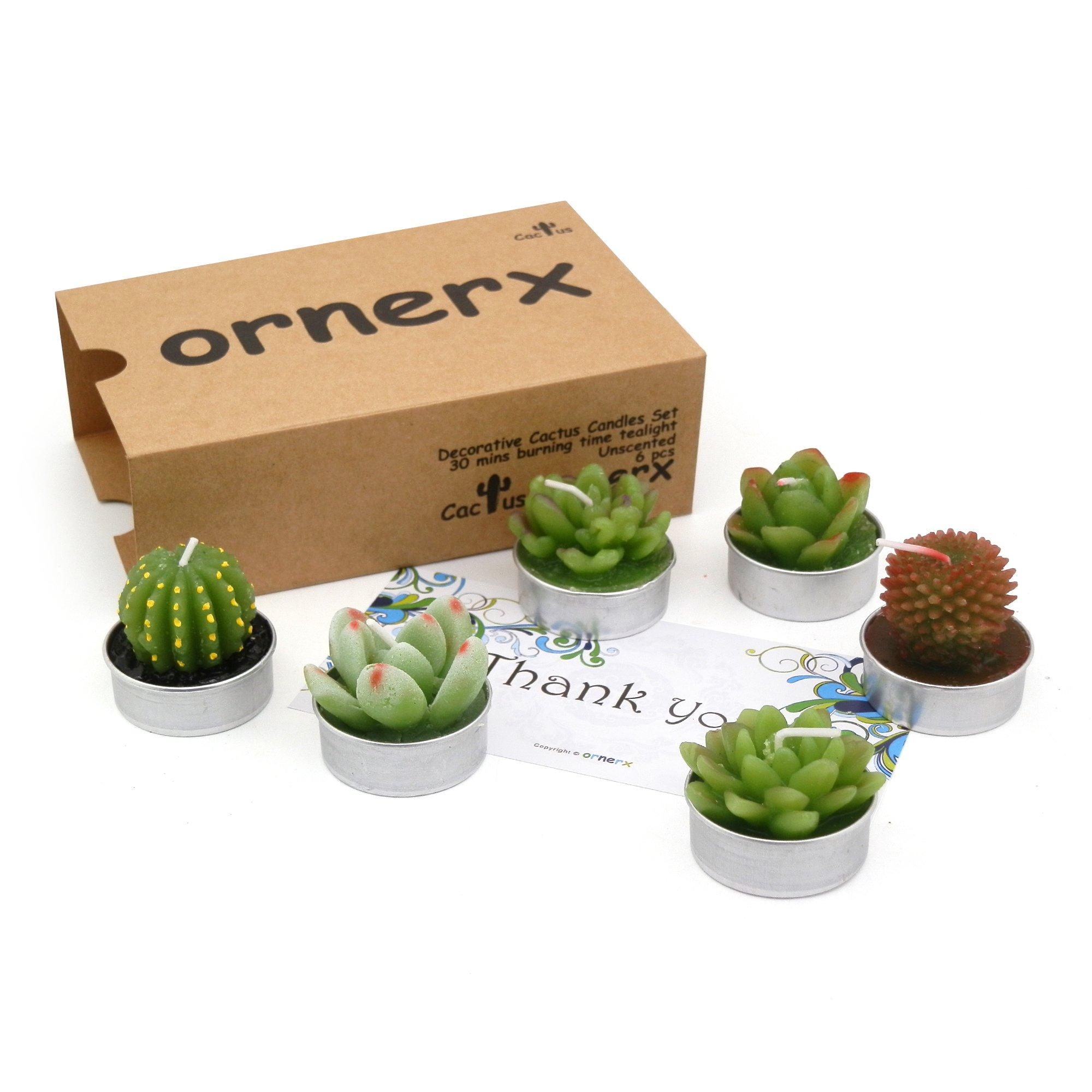 ornerx Cactus Candles Tea Lights Set of 6