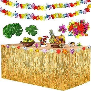 Yojoloin Falda de Mesa Luau Hawaiana Juego de decoración de la Fiesta Tropical Hawaiana de 39 Piezas,Hojas de Palmera, Flores Hawaianas, pancartas ...