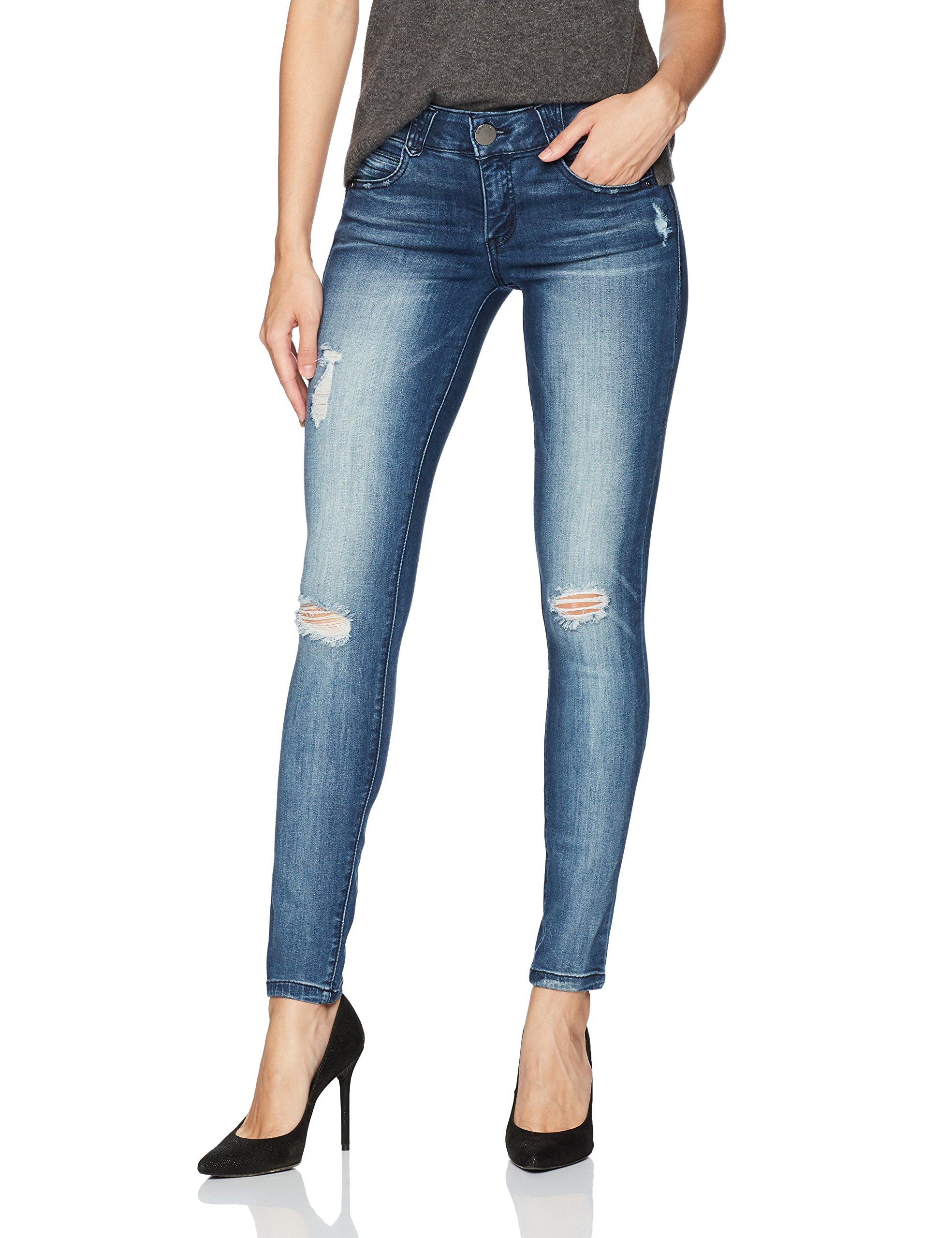 Democracy Women's Ab Solution Jegging, Blue Distressed 6