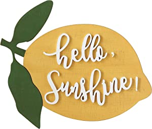 Creative Co-op Hello Sunshine Lemon Shaped Wood Wall Décor, Yellow