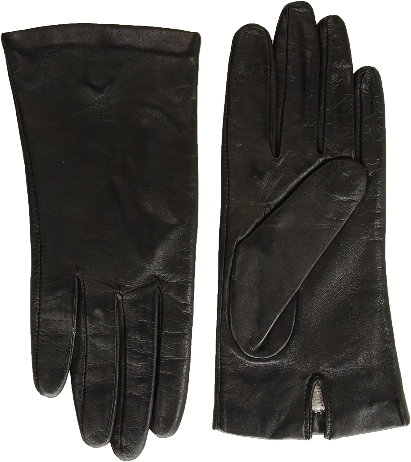 New WOMENS size 7.5 EXTRA LONG SILK LINED BLACK LAMBSKIN LEATHER GLOVES