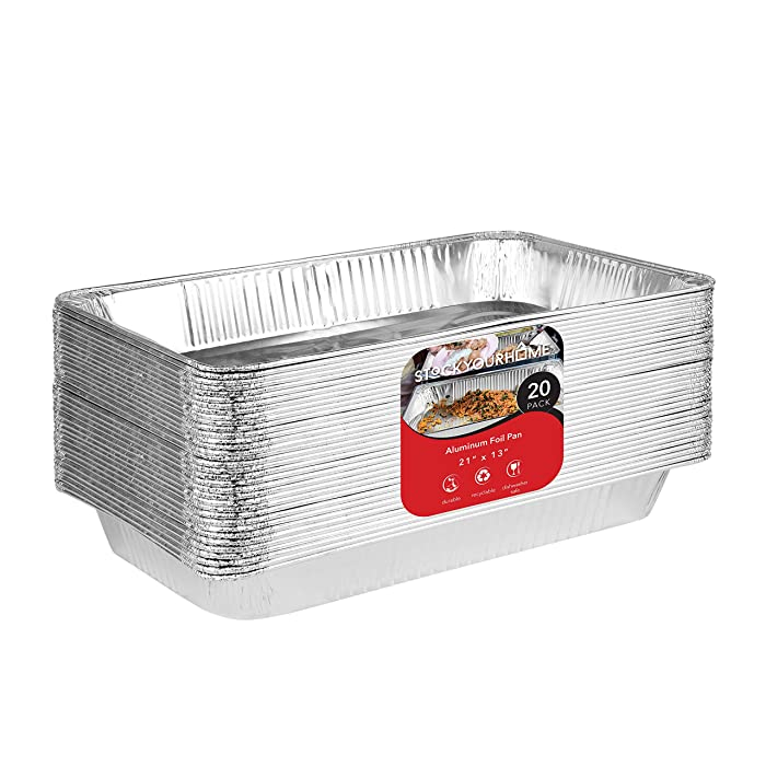 21x13 Aluminum Pans (20 Pack) Durable Full Size Deep Aluminum Foil Roasting & Steam Table Pans - Deep Pan for Catering Large Groups - Disposable Pans Great for Cooking, Heating, Storing, Prepping Food
