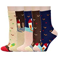 HIWILL Women Thick Casual Wool Crew Thermal Socks – 5 Pack / UK 4-7