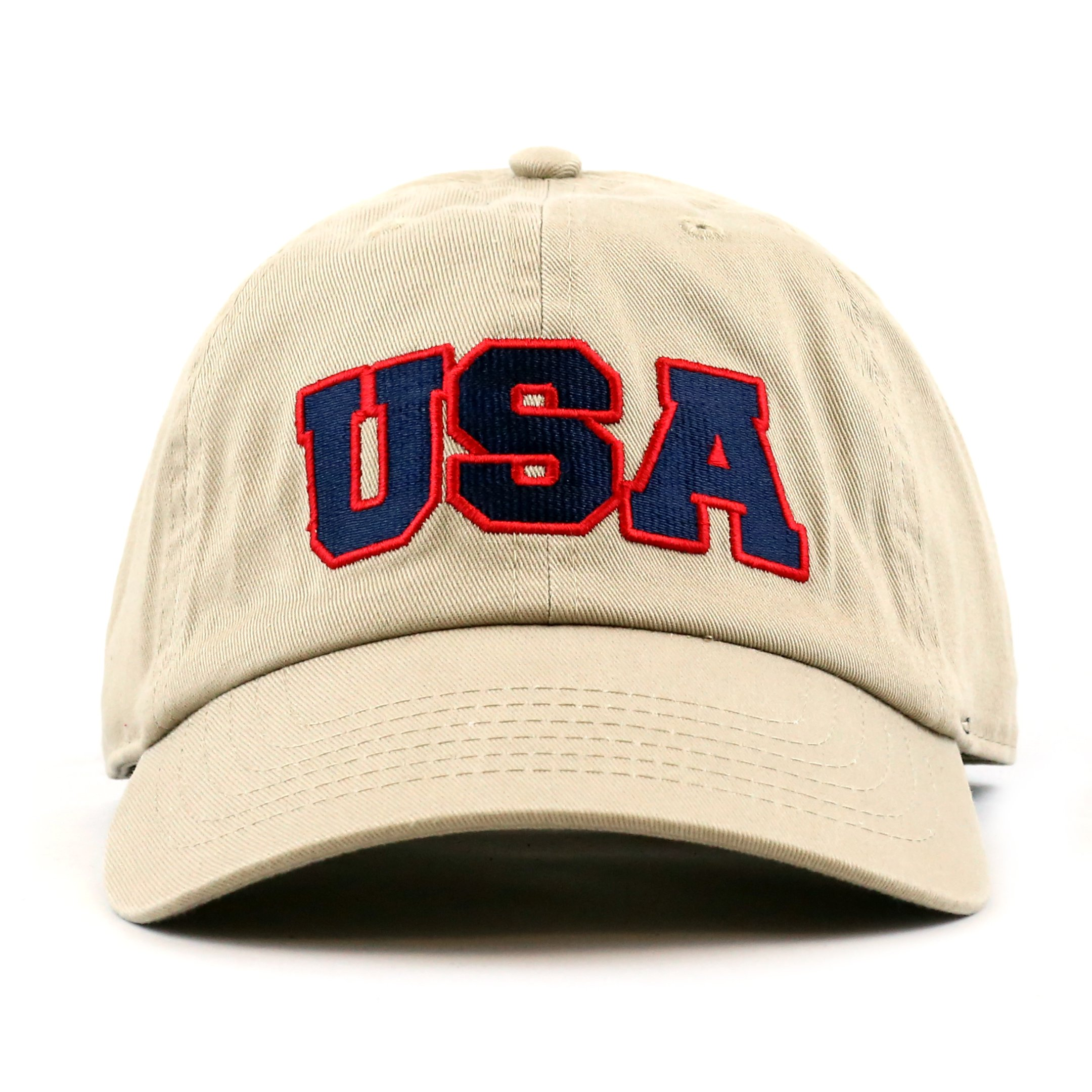 THE HAT DEPOT 300n1405 USA Embroidery Cotton Cap-4colors (Khaki)