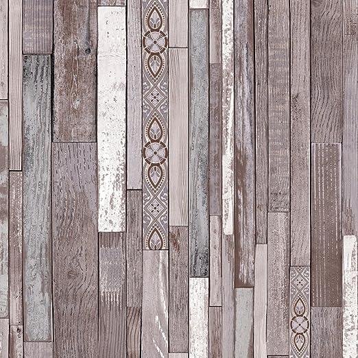 Original Wood Texture Papier Peint Marron Gris Blanc