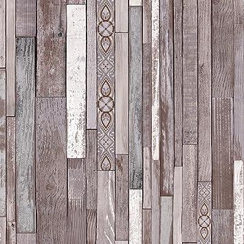 Original Wood Texture Papier Peint Marron Gris Blanc Imitation Bois