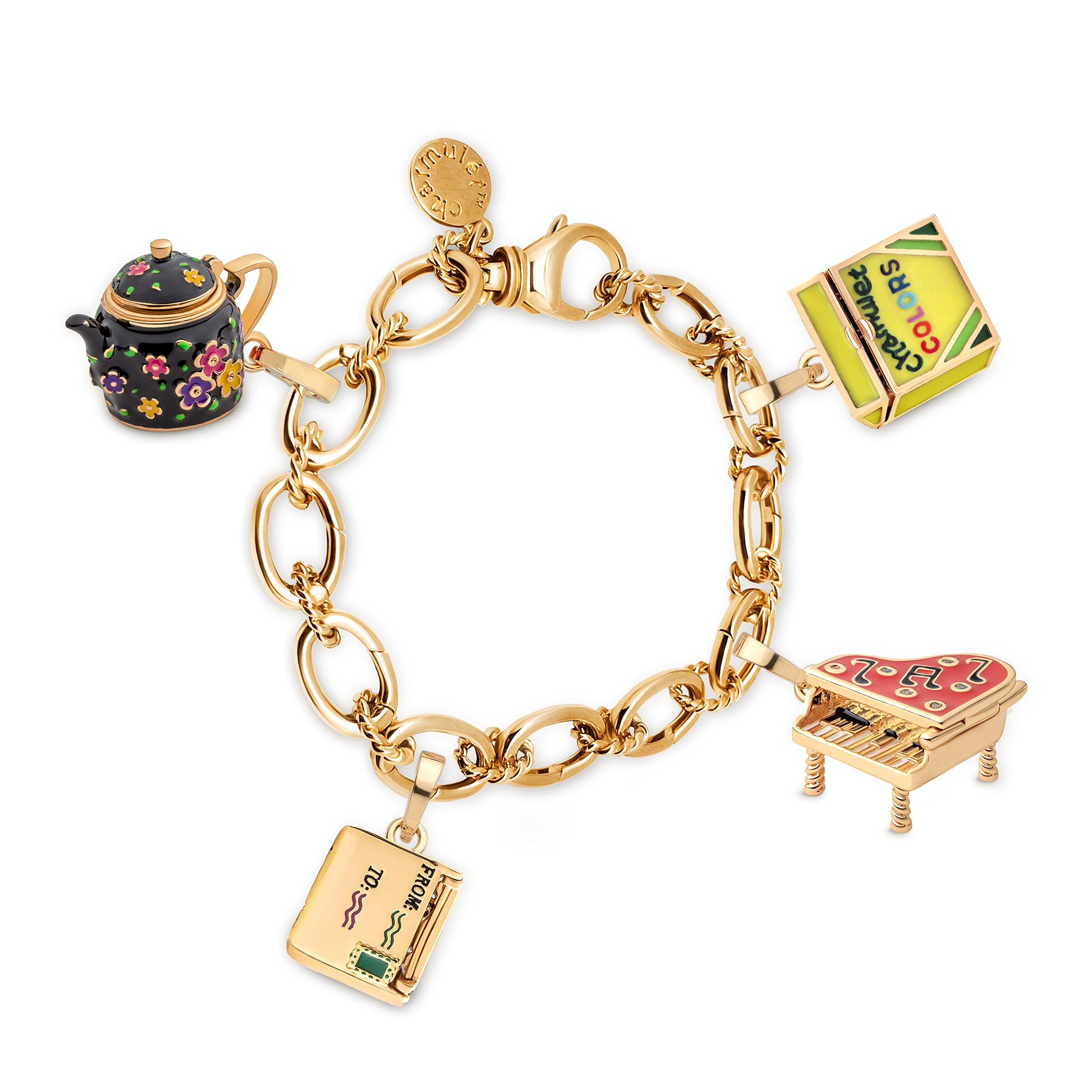Charmulét CHARMULET 14k Plated Gold Charm Bracelet 5 - Charm Set Gift Box Included (4 Charms Black Teapot-Piano-Crayons-Envelop) by Charmulét (Image #1)