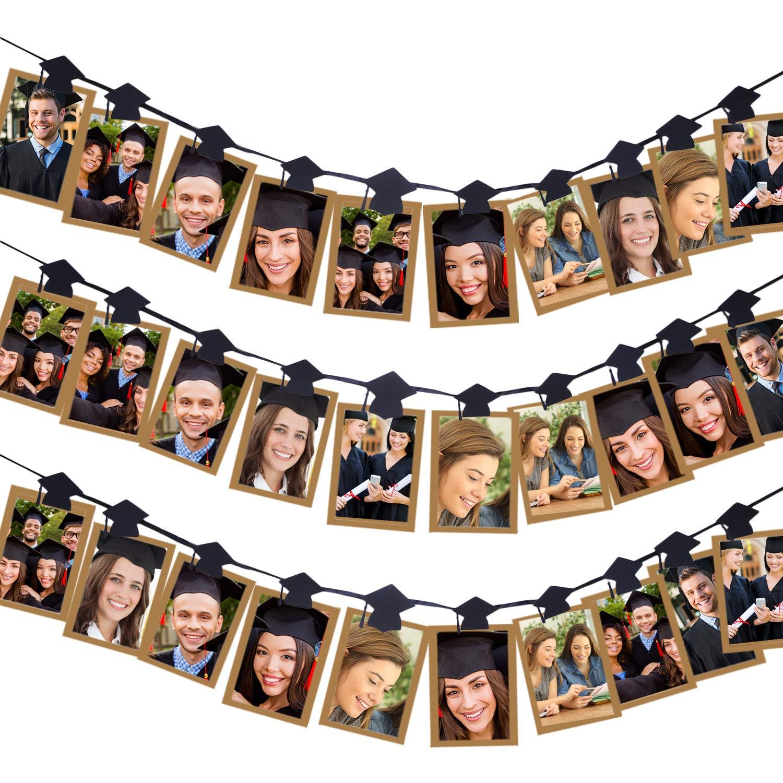 Aneco 卒業式用キャップ 写真バナークリップ ガーランド 卒業式用キャップ 写真クリップ ガーランド 2019年卒業パーティー用デコレーション 30個   B07Q1G3V39