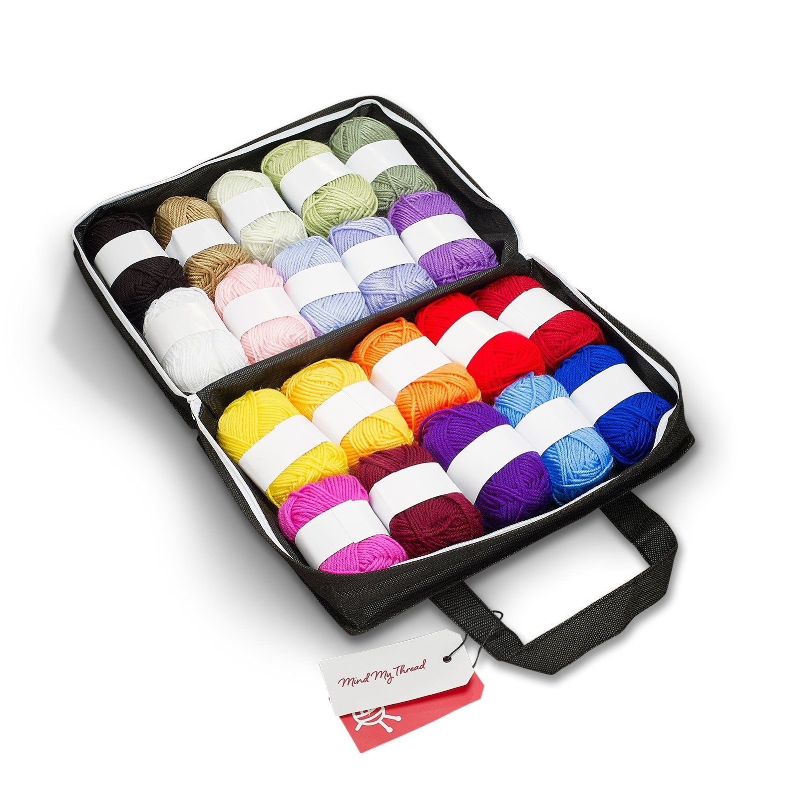 Mind My Thread 20 Skeins Acrylic Yarns For Crochet Knitting Craft Kit | 1,093 Yards | 20 Color Set with Reusable Yarn Storage Craft Bag & Bonus Crochet Hook + 'How to' Book for Beginners             by Mind My Thread (Image #1)