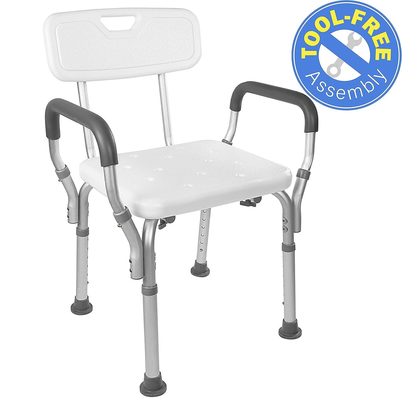 B06Y5Z47HK Vaunn Medical Tool-Free Assembly Spa Bathtub Shower Lift Chair, Portable Bath Seat, Adjustable Shower Bench, White Bathtub Lift Chair with Arms 8142WyXuhRL
