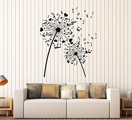 amazon com vinyl wall decal musical dandelion music art room rh amazon com children's room decoration stickers living room wall decoration stickers