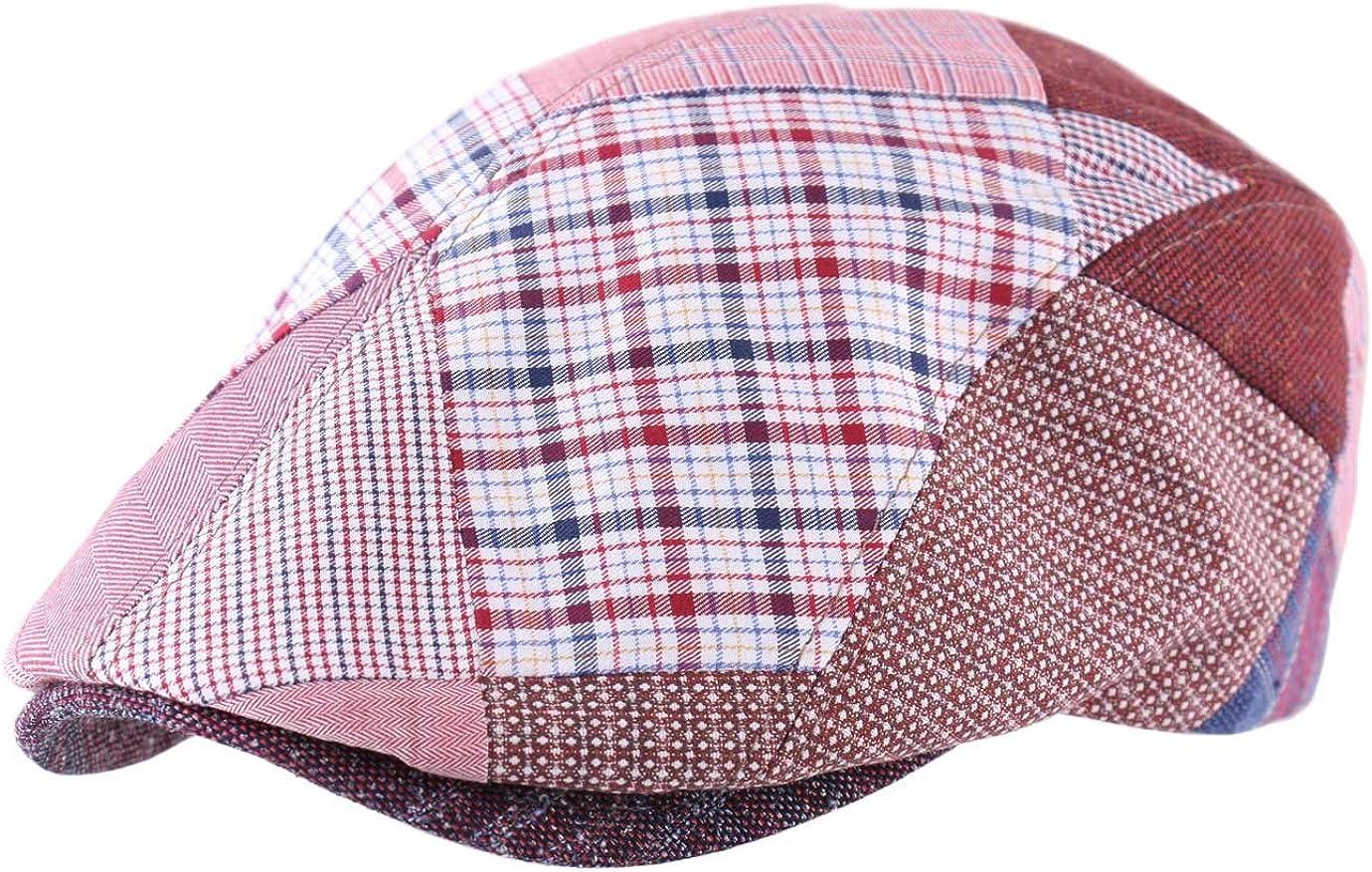 Béret rouge casquette plate homme ou femme Classic cap patchwork