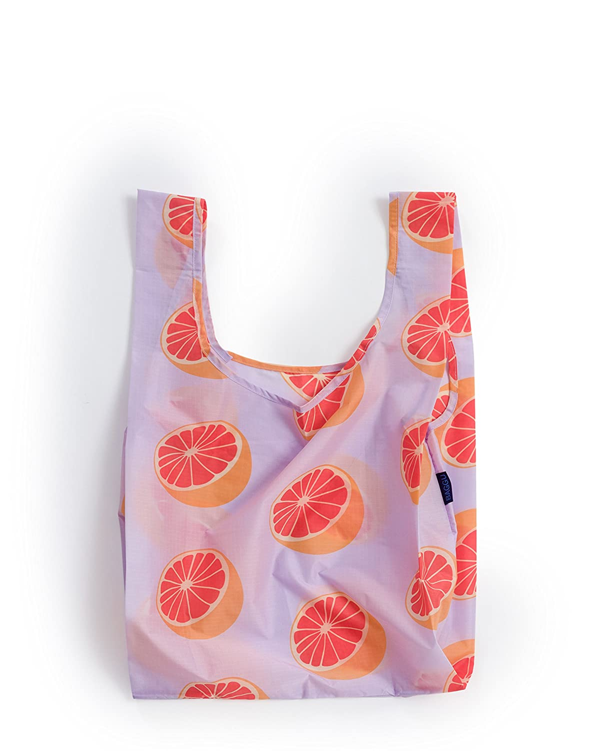 Baggu Standard Reusable Shopping Bag, Eco Friendly Ripstop Nylon Foldable Grocery Tote, Grapefruit by Baggu