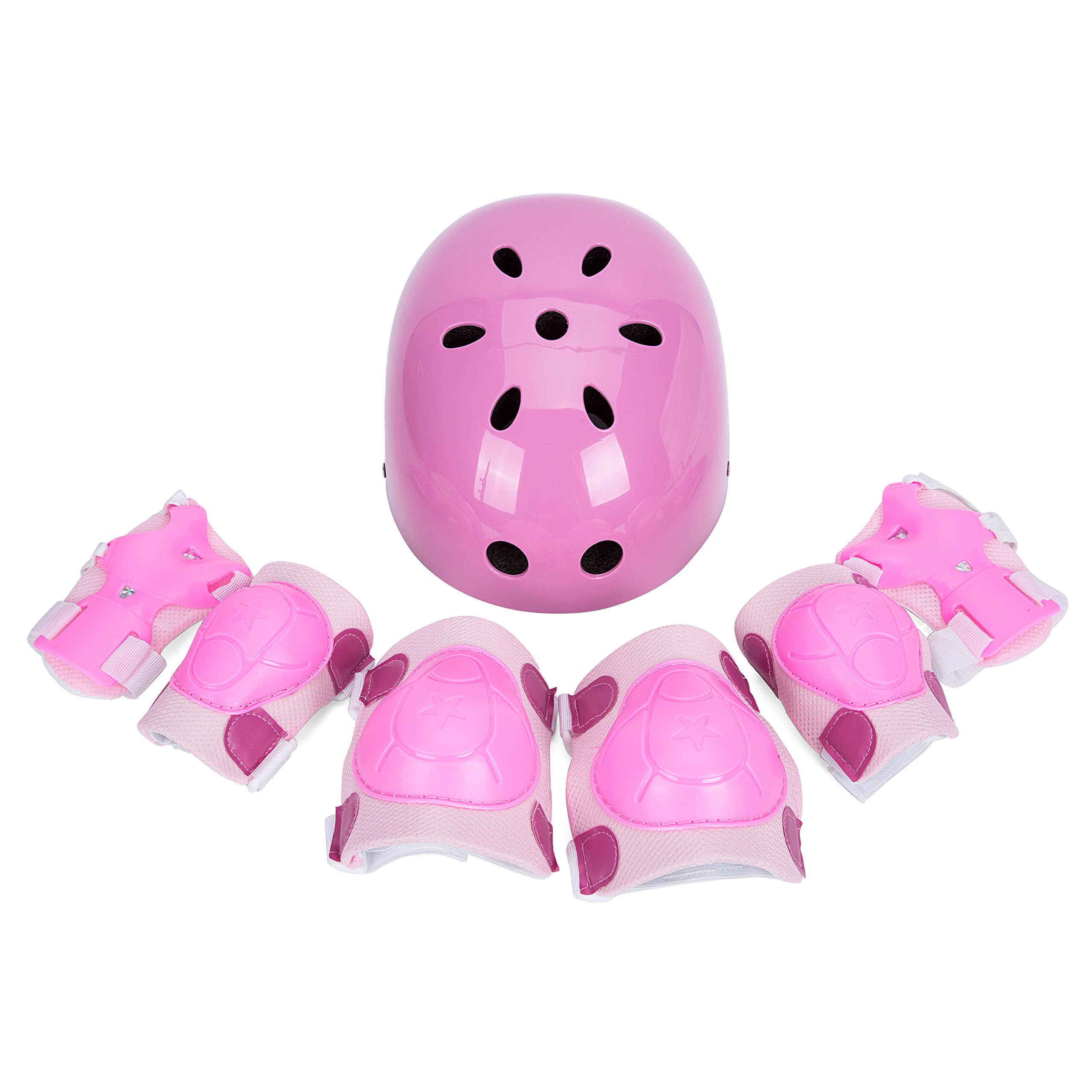 SUNVP Kid's Adjustable Bike Helmets with 7 Pieces Toddler Children Protective Bicycle Helmet Gear Set for Cycle Roller Skating Skateboard with Knee/Elbow/Wrist Pads(Pink)