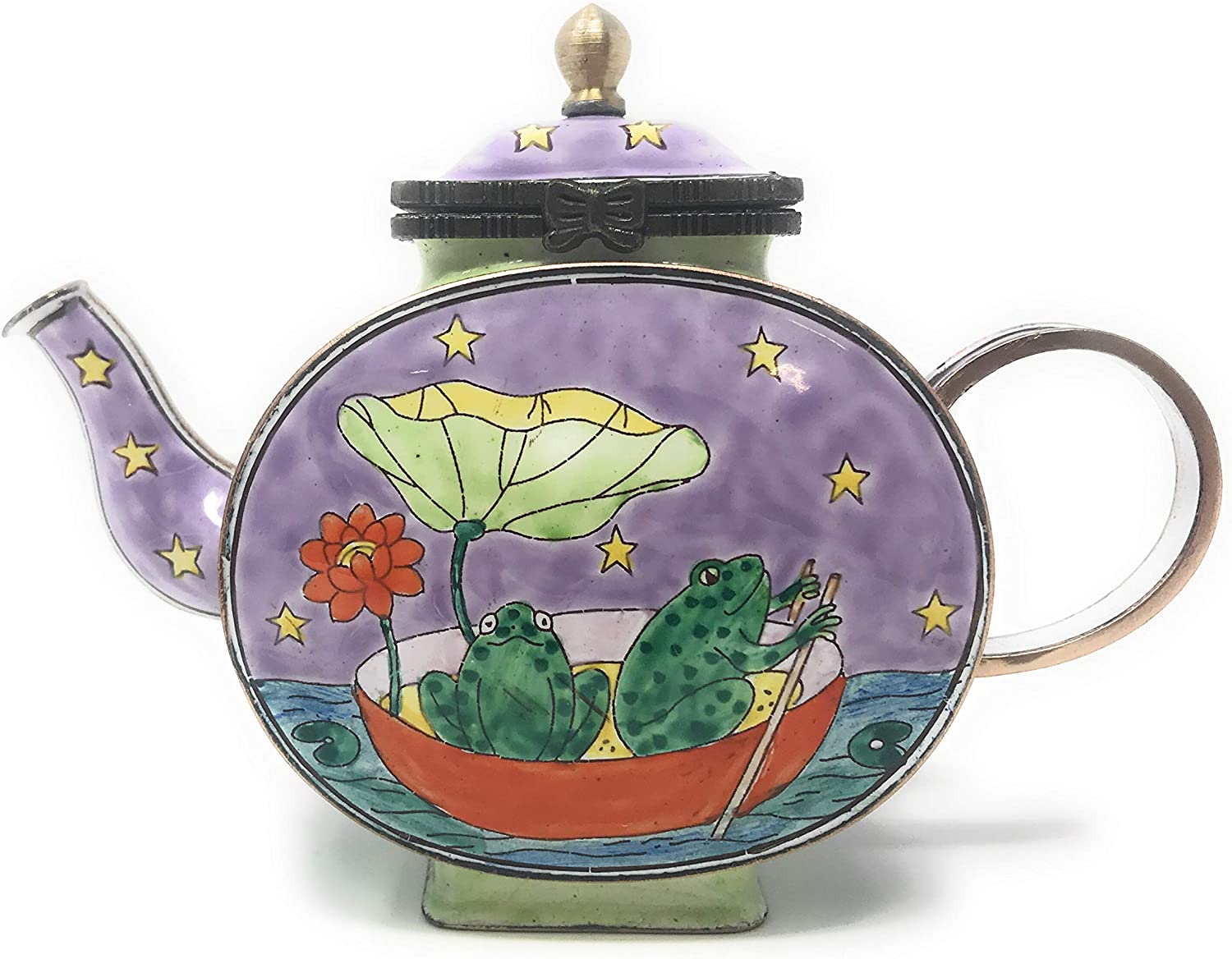 Kelvin Chen Enameled Miniature Tea Pot - Two Frogs on Pond