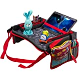 """DMoose Toddler Car Seat Travel Tray (16"""" x 12"""") – Toy Organizer, Tablet Holder, Reinforced Surface, Sturdy Base & Side Walls, Strong Buckles, Crayon Organizer, Mesh Pockets – Waterproof"""