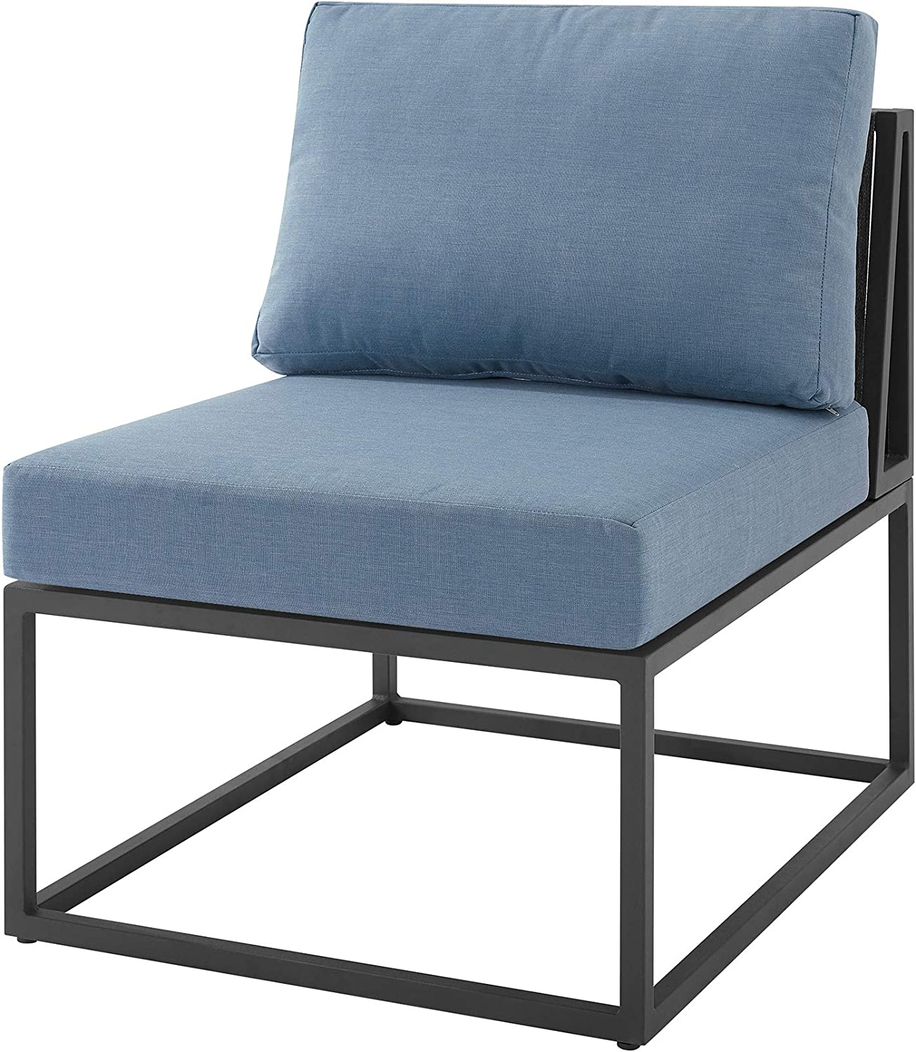 Walker Edison Furniture AZRTRINCHBU Outdoor Patio Metal Modern Modular Side Chair with Cushions, Blue