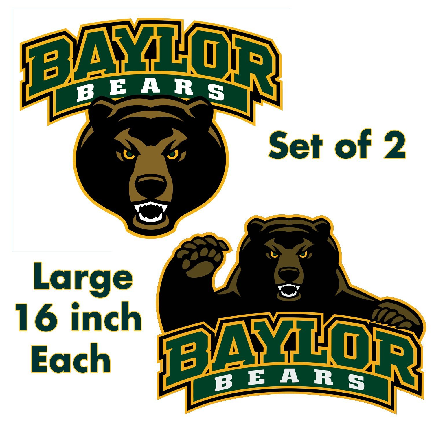 Baylor Bears - Large 16in Circle Cornhole Decals / Set of 2 University of Baylor by Retro Tacs (Image #1)