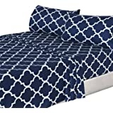 4 Piece Bed Sheets Set (Full, Navy) 1 Flat Sheet 1 Fitted Sheet and 2 Pillow Cases - Hotel Quality Brushed Velvety Microfiber - Luxurious - Extremely Durable - by Utopia Bedding