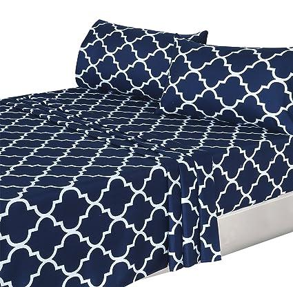 Charmant Utopia Bedding 4 Piece Bed Sheets Set (Full, Navy) 1 Flat Sheet 1