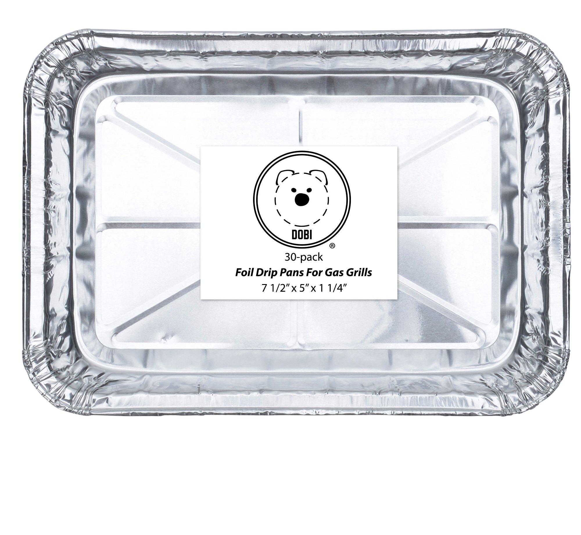 DOBI (30-Pack) Weber Grills Compatible Drip Pans, Bulk Package, Aluminum Foil BBQ Grease Pans, 7.5'' x 5'' by DOBI (Image #2)