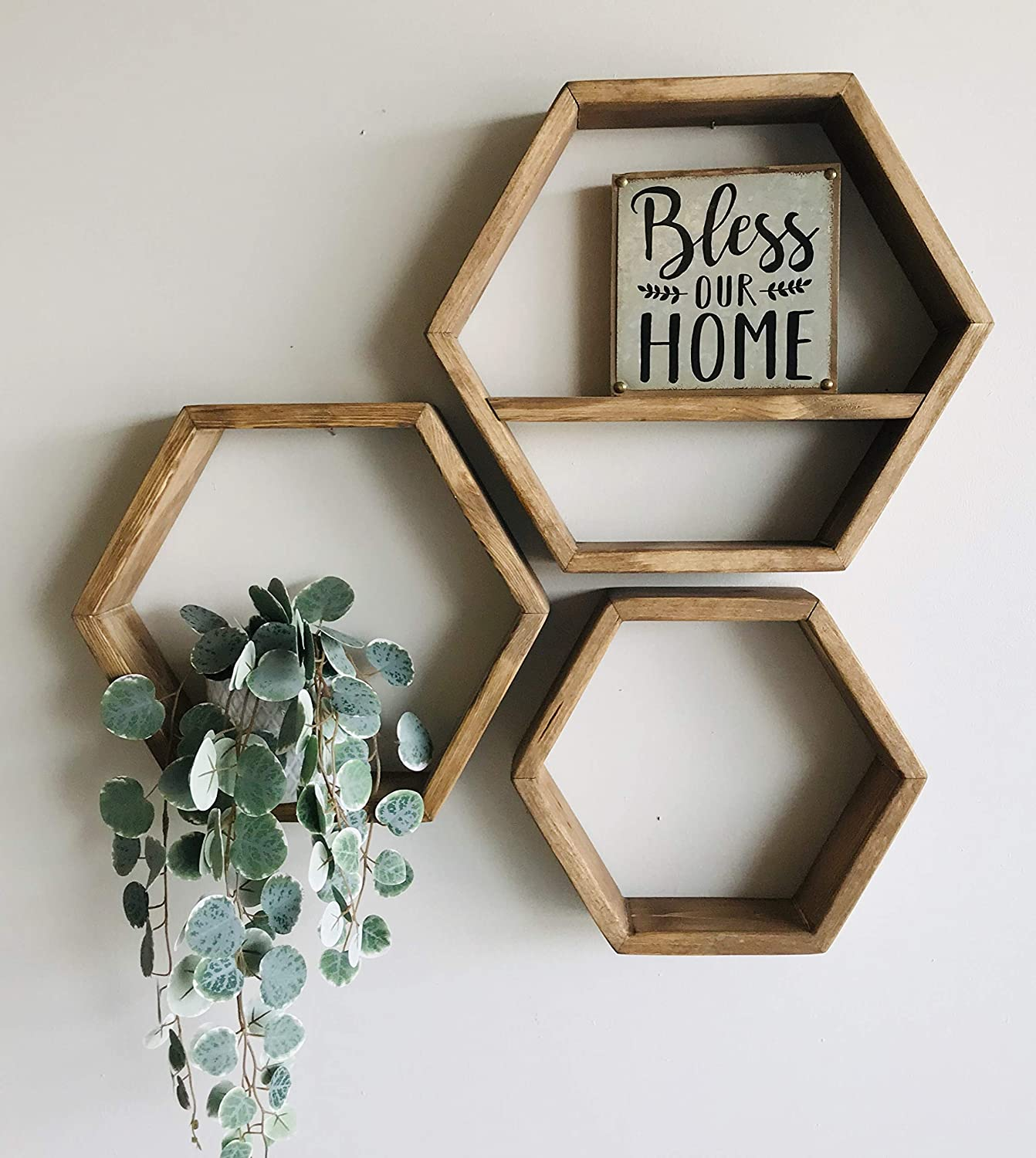 Poppy's Woodworking Set of 3 Nesting Honeycomb Hexagon Shelves Rustic or Modern Handmade in Utah USA Fully Assembled - Hanging Hardware Included (Speciality Walnut)