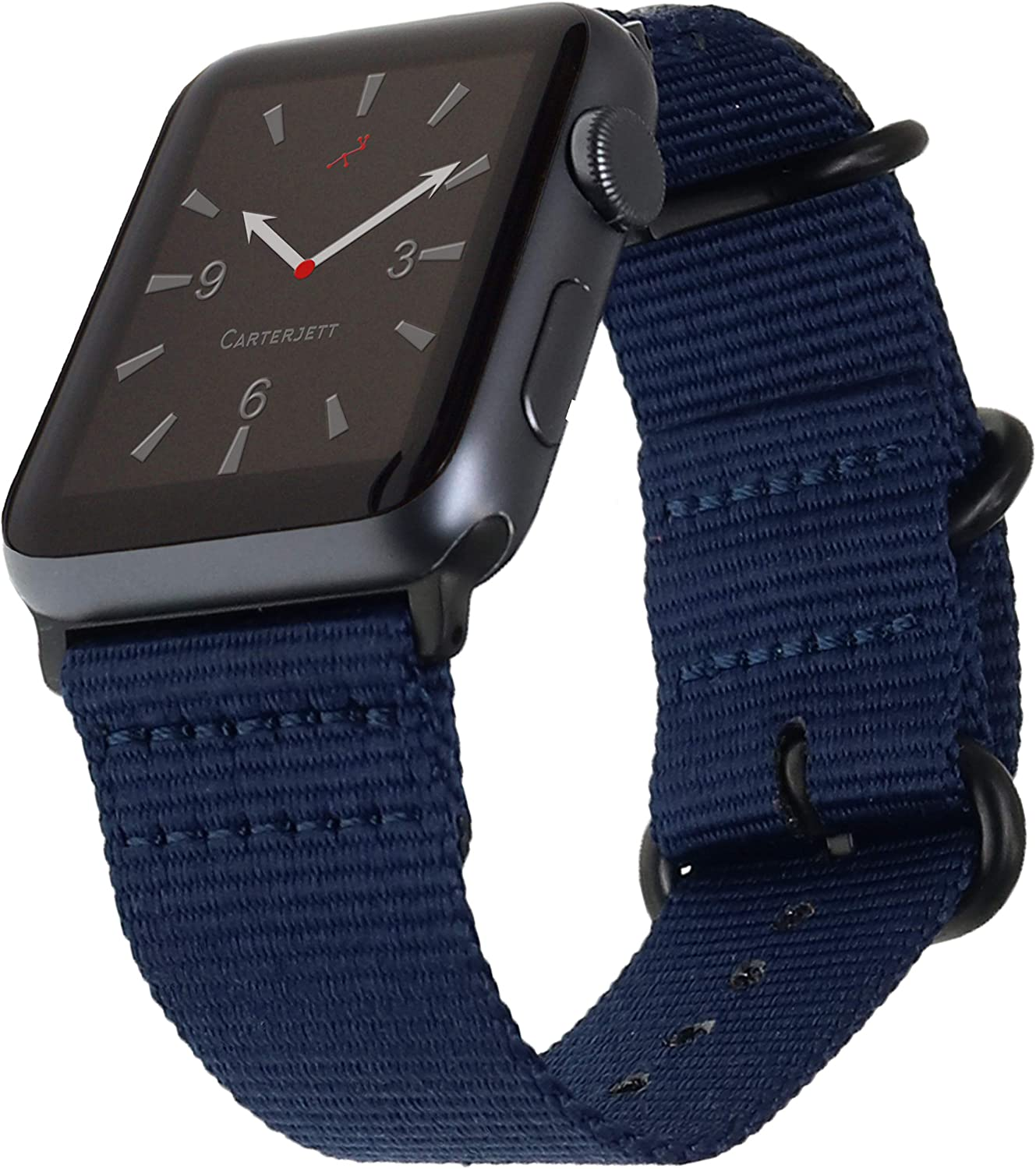 Carterjett Compatible with Apple Watch Band 42mm 44mm Nylon Sport iWatch Bands Replacement Woven Military Strap Rugged Steel Adapters Loop Buckle for Series 5 Series 4 3 2 1 (42 44 S/M/L Navy Blue)