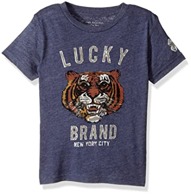 ac4792d0dfaf Amazon.com: Lucky Brand Big Boys' Short Sleeve Tiger Graphic Tee Shirt,  Lucky Blueberry, Large (14/16): Clothing