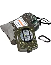 AOFAR Military Compass Lensatic Sighting- Fluorescent, Waterproof and Shakeproof with Map Measurer Distance Calculator, Pouch for Camping, Hiking, Hunting, Backpacking