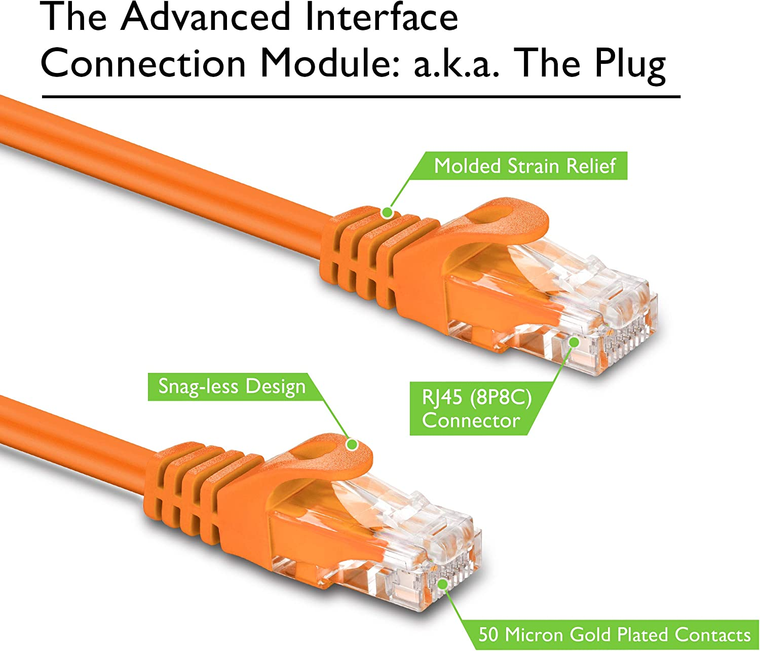 6 Inches Cat 6 Ethernet Cable Snagless Flexible Soft Tab GearIT 20-Pack Cat6 Patch Cable 0.5 Foot Orange Preimum Series