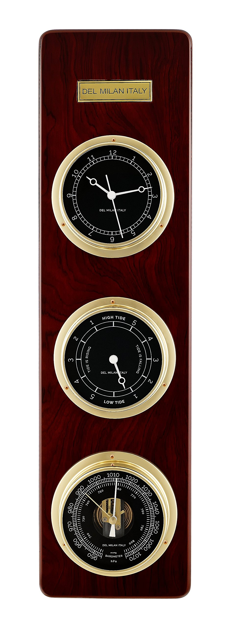 Del Milan 3 in 1 Fishermans Station, Clock, Tide Clock, Barometer, Mahogany Finish