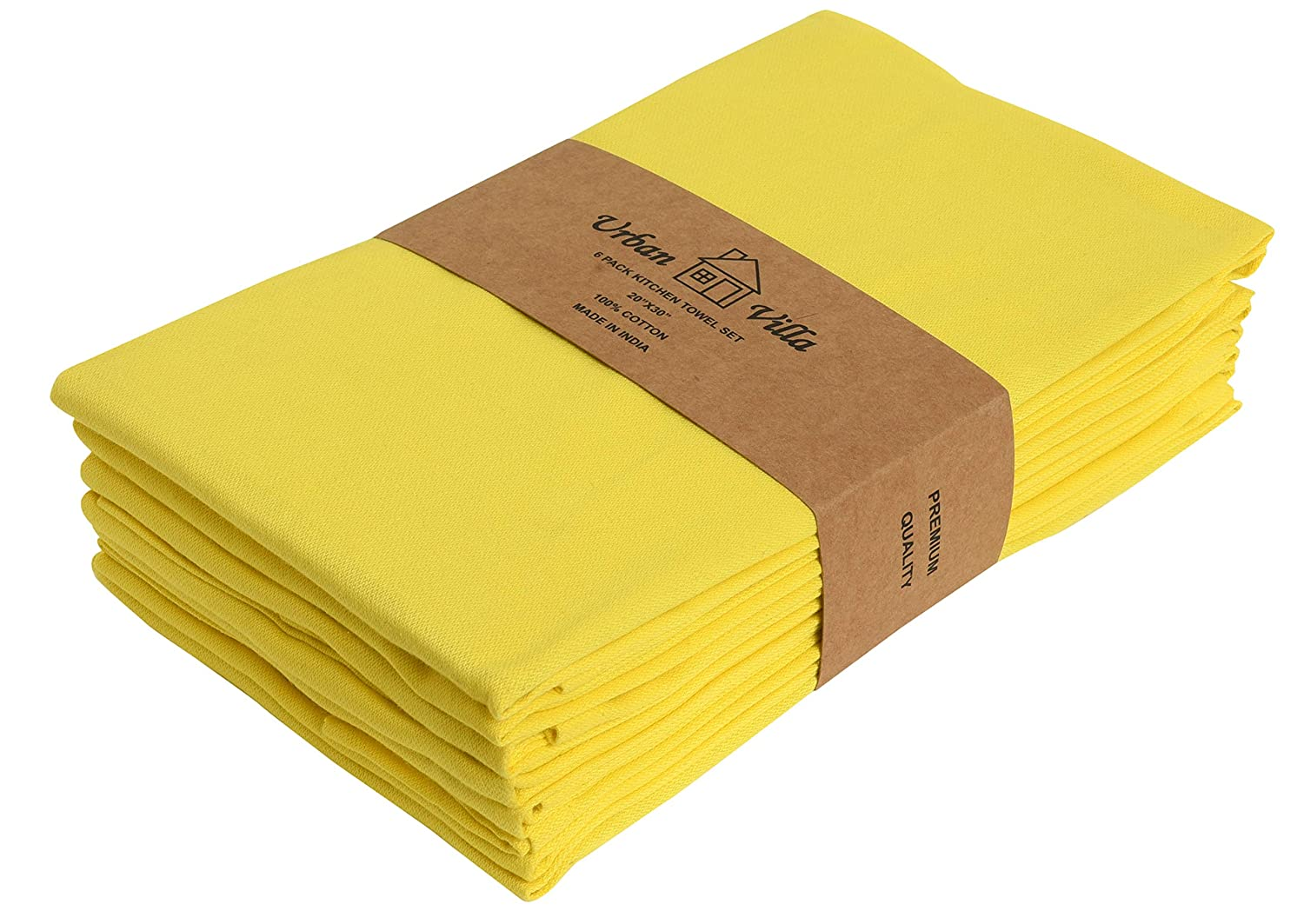 Urban Villa Solid Satin Weave - Premium Quality, Kitchen Towels, Ultra Soft,100% Cotton Dish Towels, (Size: 20X30 Inch), Yellow Highly Absorbent Bar Towels & Tea Towels - (Set of 6)