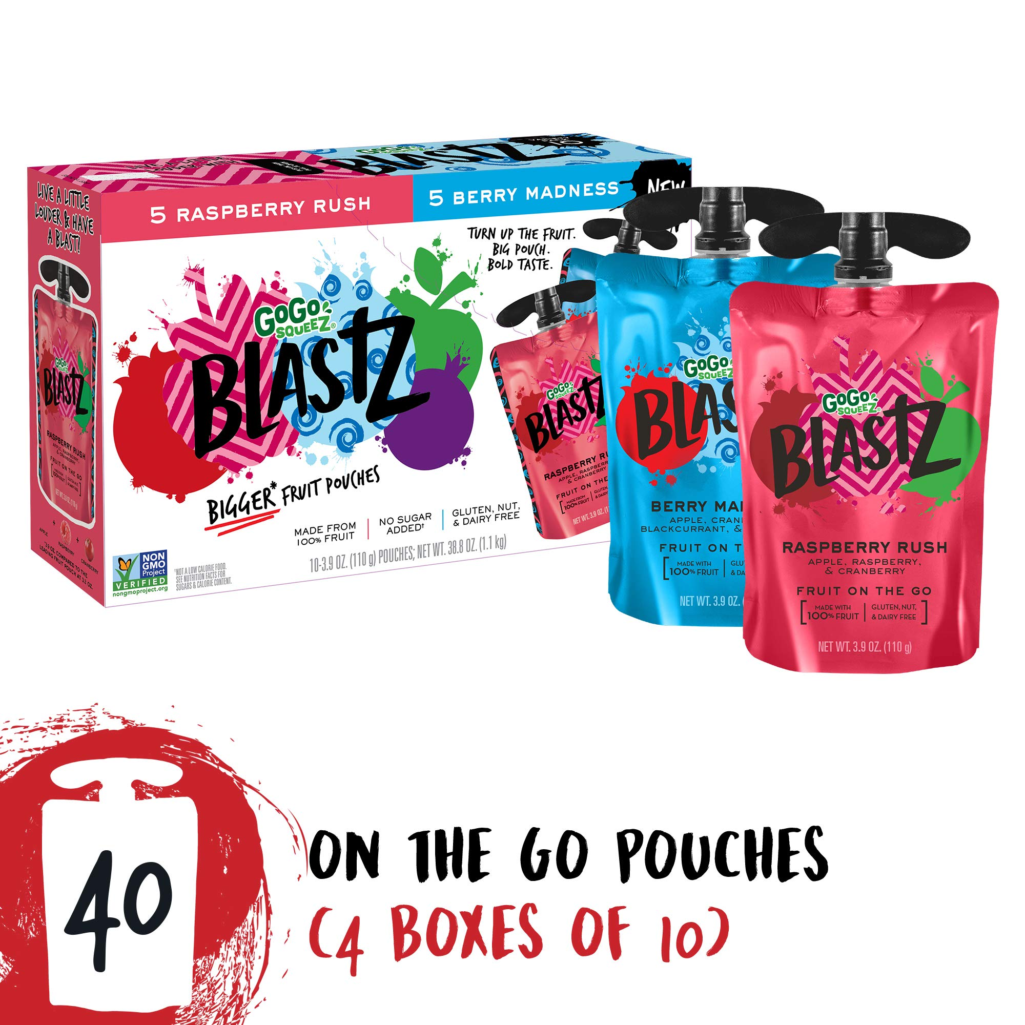 GoGo squeeZ BlastZ Fruit Pouches on the Go, Variety Pack (Raspberry Rush/Berry Madness), 3.88 oz (40 Pouches), Gluten Free, Vegan Friendly, Healthy Snack, Unsweetened, Recloseable, BPA Free Pouches by GoGo SqueeZ