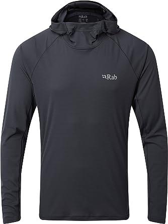 RAB Sudadera con capucha para hombre, ultraligera, de secado rápido, para escalada y senderismo (ébano, L)