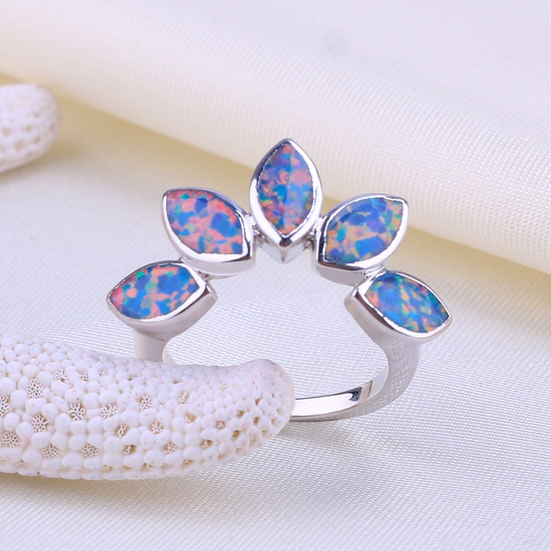 KELITCH Bijou Bague Anneau Femme Maple Feuille Plaqu/é Argent 925 Opale Unique Cadeau Id/ée pour Femme Fille