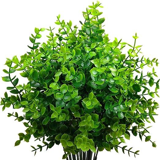 FLOR FALSA Plantas Verdes Artificiales Eucalipto Hojas Arbustos Plástico Arreglo Ramo Simulación Plantas Decoración Hogar Jardín Exterior Greening(4 Pcs) Hogar Oficina Cocina,B: Amazon.es: Hogar