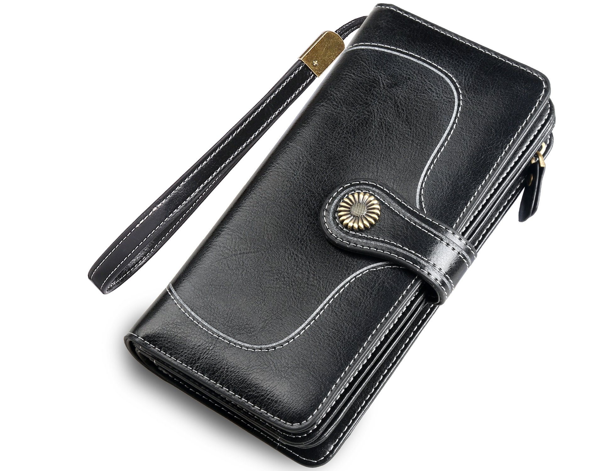 Womens Large Wallets Leather Clutch Wallet Card Holder Organizer Ladies Purse