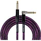 KIRLIN Cable IWB cable de instrumento, 1/4 pulgadas en ángulo recto a recto, negro morado onda, 10 pies (IWB-202 BFGL-10/WBP)