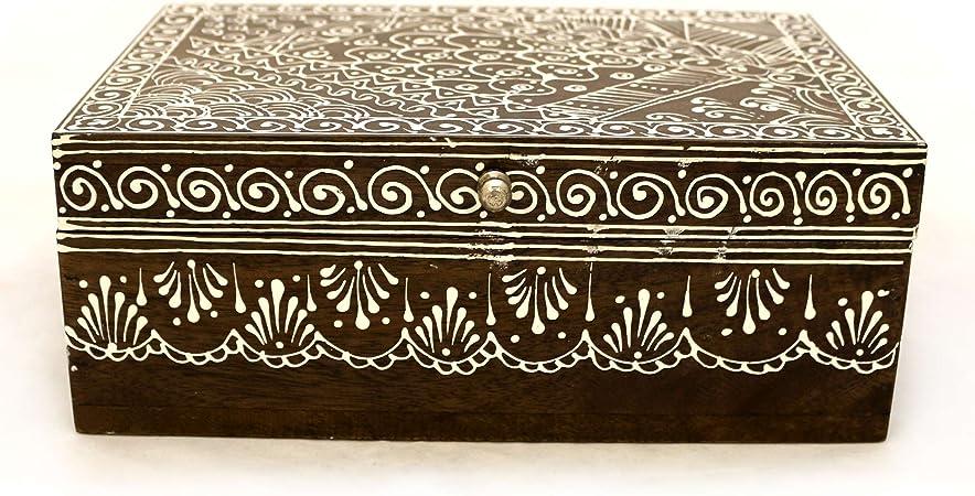 Caja de madera Cofre del Tesoro Caja Cofre del Tesoro pintadas a mano caja acuosa baúl Madera Maciza marrón blanco con motivos orientales – Gall & Zick: Amazon.es: Hogar